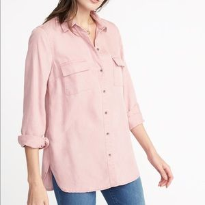 Old Navy Teak Rose Relaxed Tencil Utility Shirt